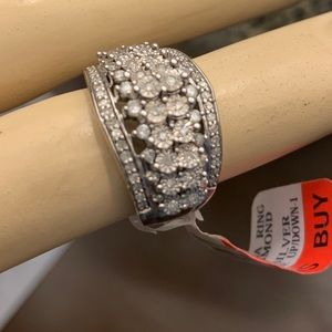 jcpenney Jewelry - 1/2CT Diamond Stacked Wide Band Sterling Ring sz 5